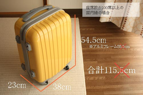 国内線機内持ち込み手荷物サイズとニッセンのキャリーバッグの比較