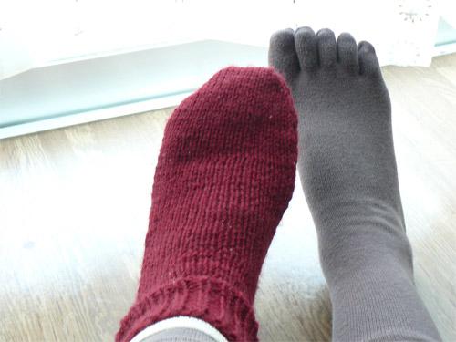 綿・シルク・ウールの靴下三枚重ね