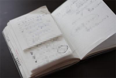 無印良品の短冊型メモ チェックリストを貼り付けた手帳