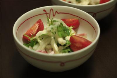 サラダを盛り付けた白山陶器の赤い糸 ペア小丼