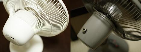 プラスマイナスゼロの扇風機(テーブルファン)を後ろから撮影した写真