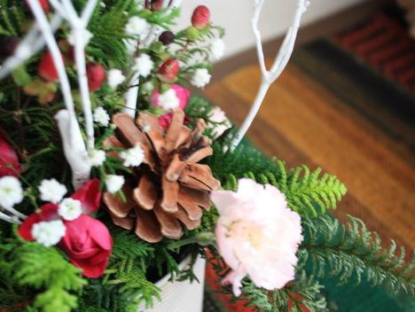 玄関に飾った花の写真