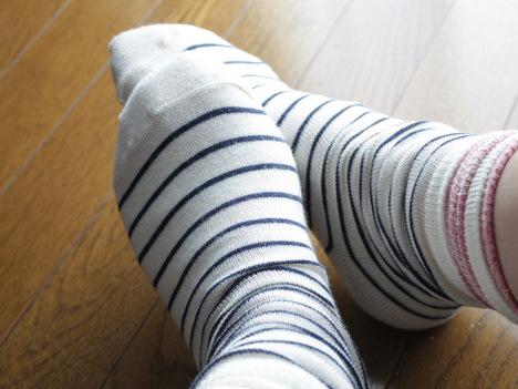 ベルメゾンネットの冷えとり靴下を重ね履きしている写真