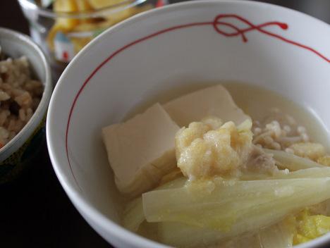 ちちんぷいぷいのお料理「酒粕と白みそと鮭のお鍋」
