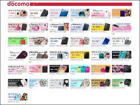 スマートフォンケース.comのドコモ対応機種表
