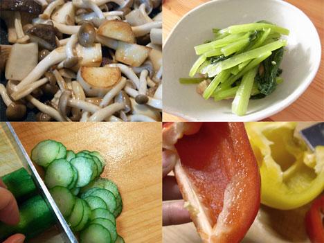 小松菜の煮びたし、キュウリの輪切りなどの写真