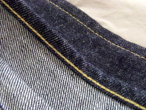 桃太郎ジーンズ 出陣レーベル0805SPの裾上げ後の裾の写真